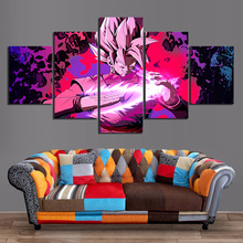 5 Piece Black Goku Dragon Ball Super Anime Poster Fighter Z Game Posters Artwork Canvas Paintings for Wall Decor