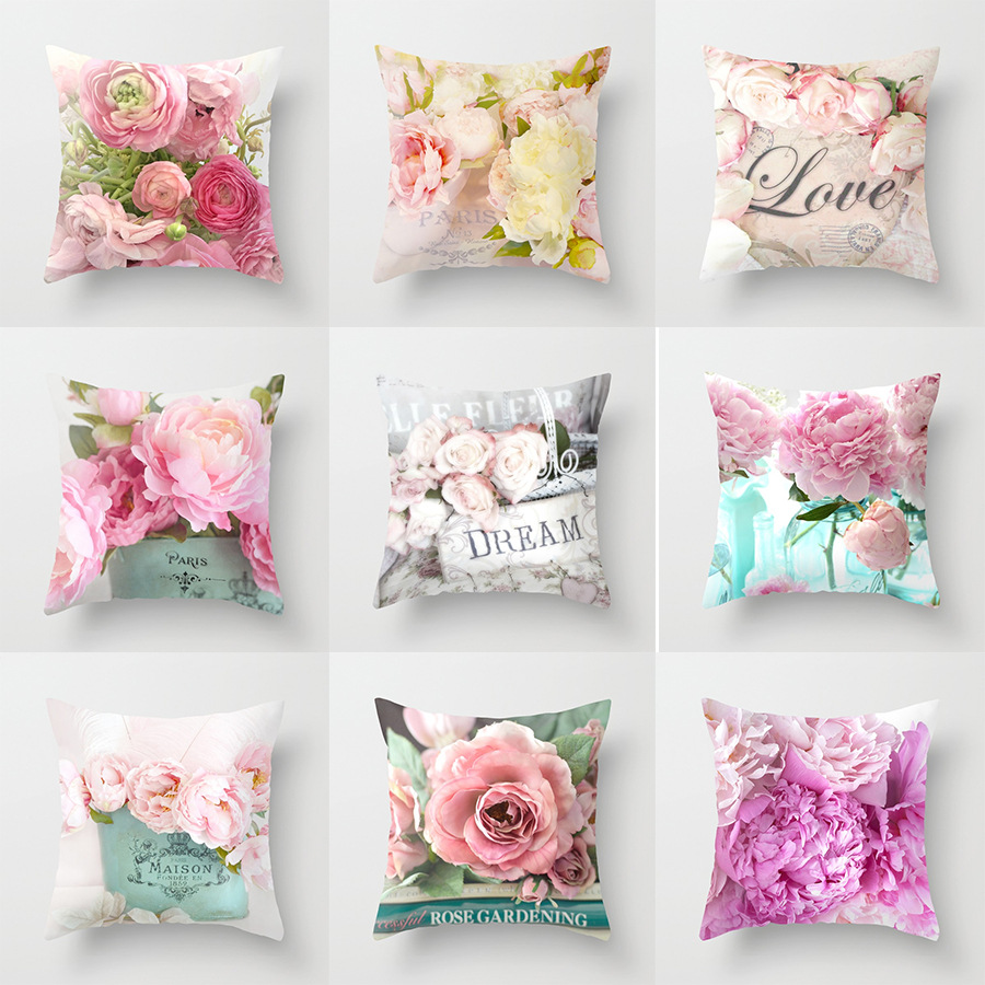 For Popular 1PC Mediterranean Style Hot Sale  Cover Rose Flower Home Throw Pillow Euro Style Pillow Case