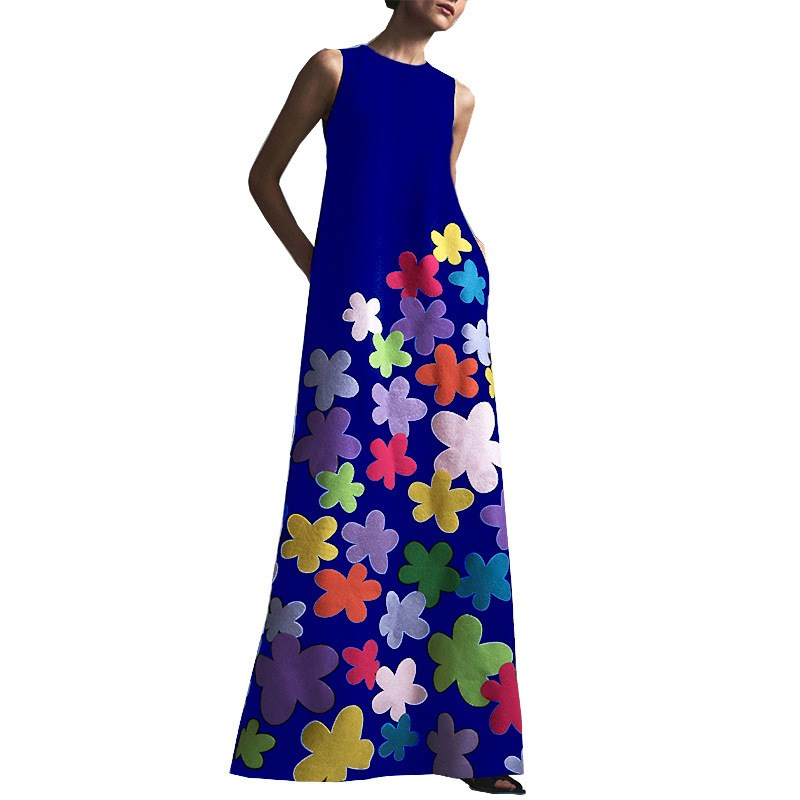 7fb589da279e Vestido largo con estampado Floral elegante cuello redondo Maxi ...