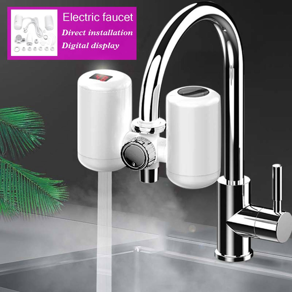 3KW 220V Electric Instant Hot Water Heater Sink Faucet Kitchen Heating Tap Free Installation Temperature Display Electric Faucet3KW 220V Electric Instant Hot Water Heater Sink Faucet Kitchen Heating Tap Free Installation Temperature Display Electric Faucet