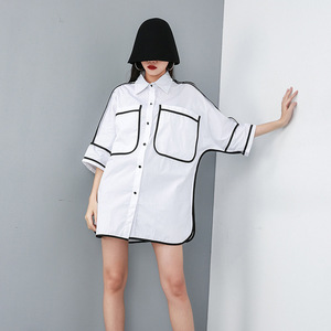 Image 3 - [Eam] 2020 Nieuwe Lente Zomer Revers Half Mouw Pocket Split Joint Losse Big Size Overisze Shirt Vrouwen Blouse mode Tij JT609