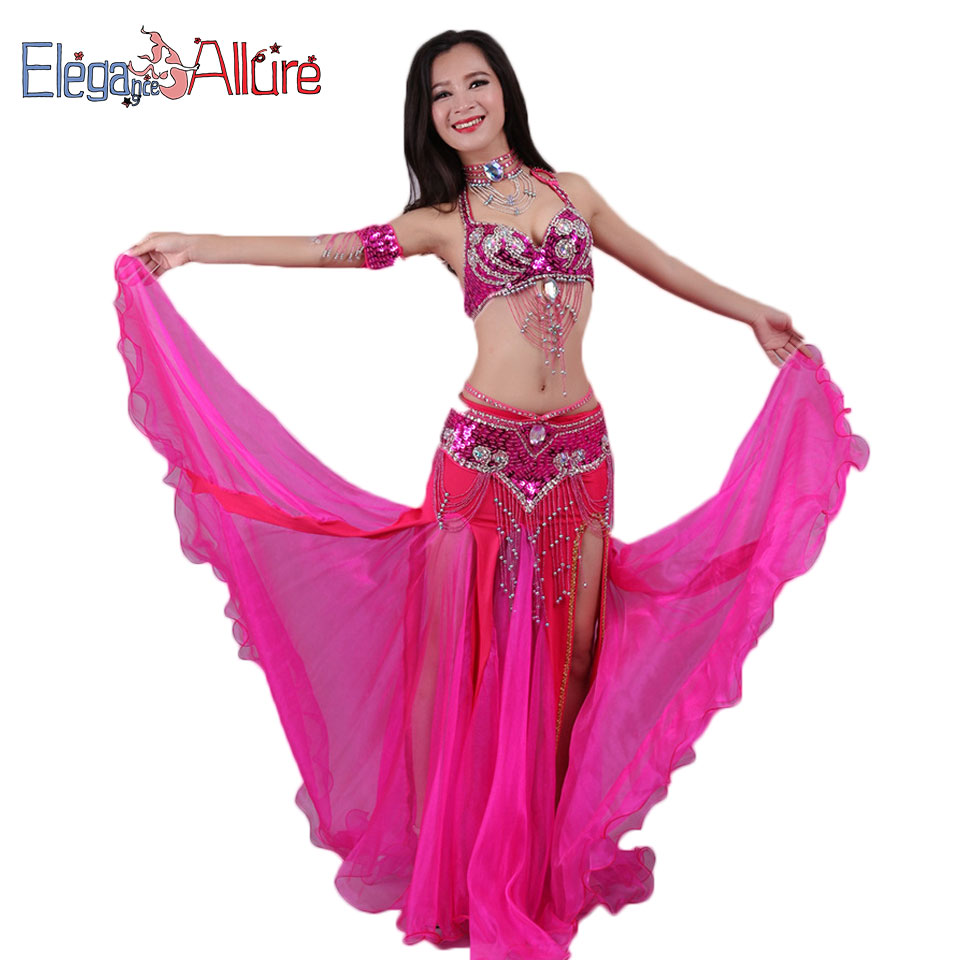 E&A 5pcs Bellydance Set Bra Skirt Necklace Bracelet Belt Sets Bollywood Belly Dance Costume For Women Female Performance Dress