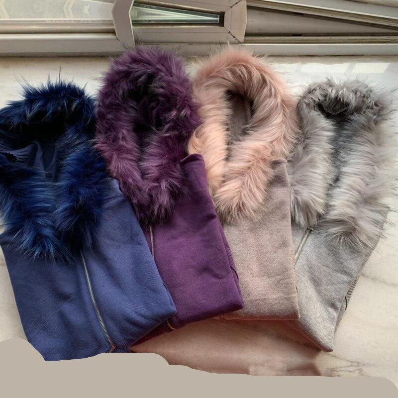 Manches Fourrure purple Survêtements 2 Tenues Chaud Pour gray Pantalon Dark Les Hiver Femmes Ensembles Top Longues Blue Réel À khaki Et Pièce De wx0Xq1Ax