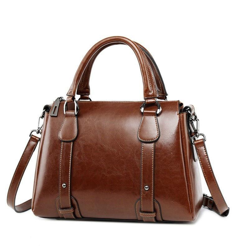 Kajie Vintage Wax Oil Genuine Leather Briefcase Women Handbags Top-handle Luxury Shoulder Bags Designer Female Ladies Tote Bag