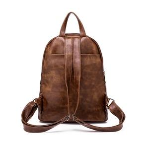 Image 4 - Marque de luxe Vintage sac à dos femme PU cuir marron collège Anti vol sac à dos femmes voyage dames sacs à dos femme 2018