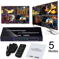 HDMI 4x1 Quad Multi Viewer Switcher 1080P 3D Seamless Switch 4 Channel Video Image Picture Splitter Game Monitoring PIP Display