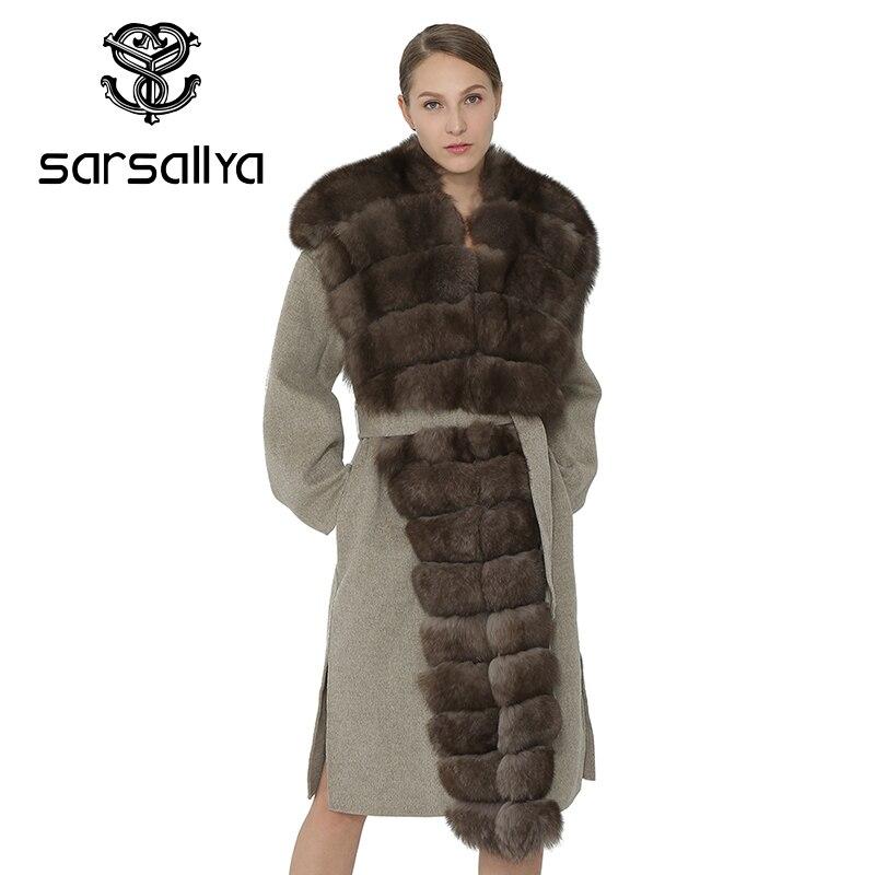 SARSALLYA Для женщин пальто тонкий зима теплая модное пальто дамы лиса меховой воротник завязывается пояс женская одежда куртка пальто