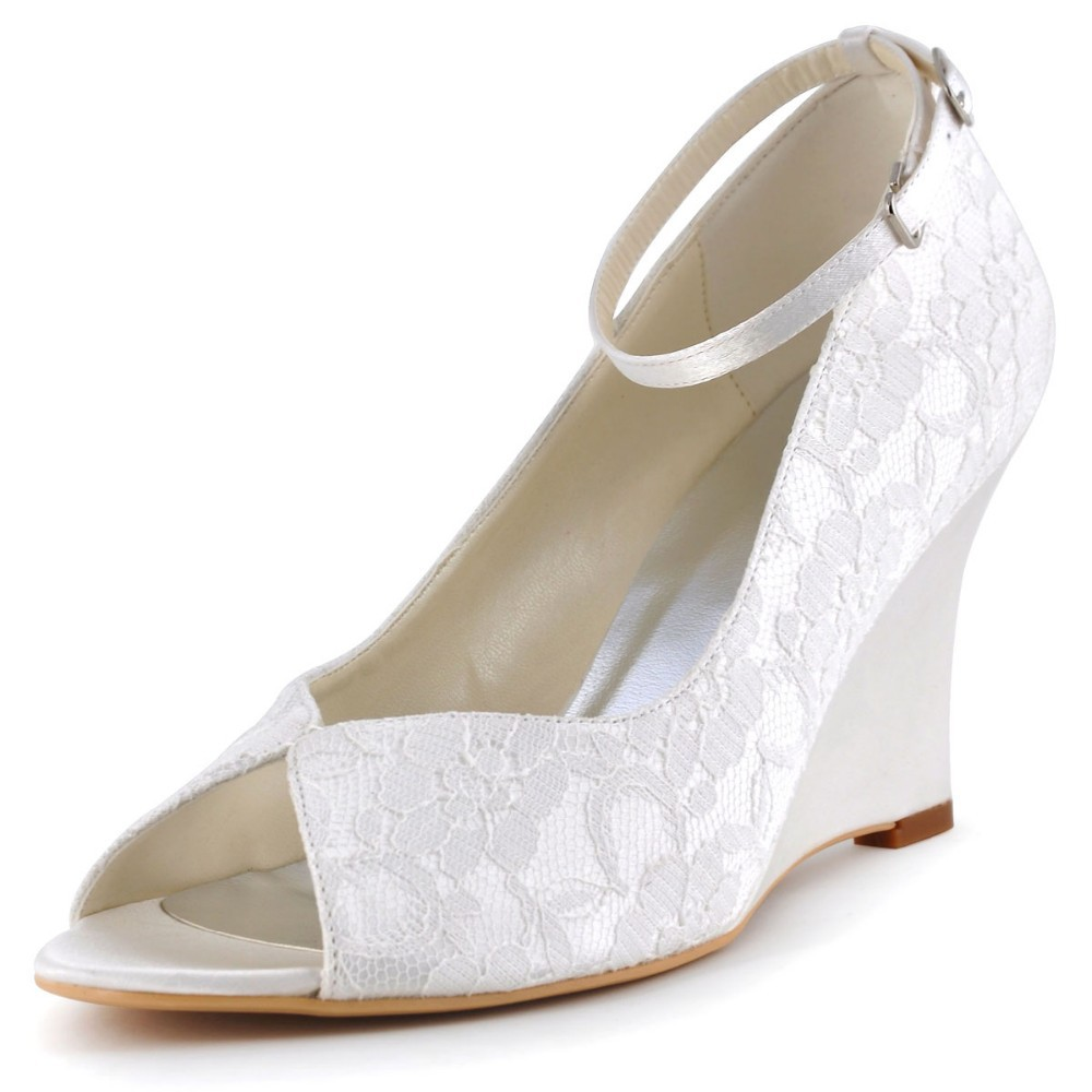 6825a807d2c9 WP1415 Ivory White Women Wedding Shoes Peep Toe High heel Prom Party Dress  Lace Ankle Strap