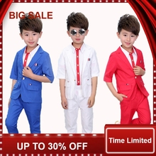 Baby Prom Suits ( blazers + shirts Pant ) Summer Wedding Flower Girls Dress Blue White Red Child Boy Party