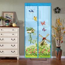 Windmill Butterfly Anti Mosquito Magnetic Door Curtain Summer Magnet Closing Mesh Net Home Tulle Shower Room Curtain Door Screen odom hight quality summer anti mosquito mesh door magnetic mosquito net curtains tulle soft screen door magnetic stripe of gray