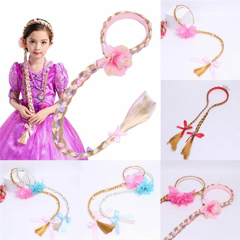 Peruca loira para cosplay, peruca com argola para meninas, princesa rapunzel, trançada