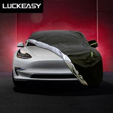 LUCKEASY car cover for Tesla Model 3 2018-2019  Oxford Cloth Waterproof All Weather Sun Uv Rain Protection buildreamen2 all weather car cover waterproof suv sun shade rain hail snow scratch dust protection covers for tesla model x