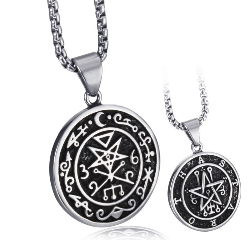 US $6 12 34% OFF|Men Stainless Steel Pendant Necklace Both Sided Seal of  Astaroth Key of Solomon/Seal of Lilith Sigil of Lucifer Seal Chain-in