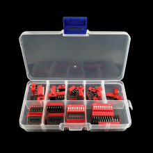 45 шт./лот Dip-переключатель комплект 1 2 3 4 5 6 7 8 9 Путь 2,54 мм тумблер красный оснастки переключатели смешанный комплект каждый 5 шт. Комбинации комплект