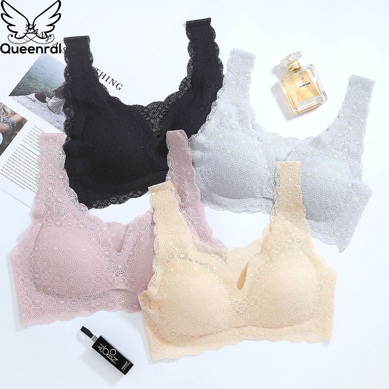 Queenral Sexy Lace Bras For Women Seamless Bra Push Up Bralette Brassiere Breathable Bra Comfortable Sleep Soutien Gorge Femme
