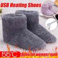 Winter Foot Warmer Shoes Soft Electric Heating Shoes USB Battery Rechargeable Snow Boots Washable Electric Shoes Skiing Boot