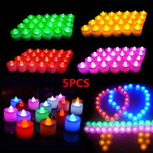 5pcs Battery Powered LED Candle Multicolor Lamp Simulation Color Flame