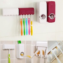 1 Set Creative Automatic Plastic Lazy Toothpaste Dispenser 5 Toothbrush Holder Squeezer Bathroom Accessories
