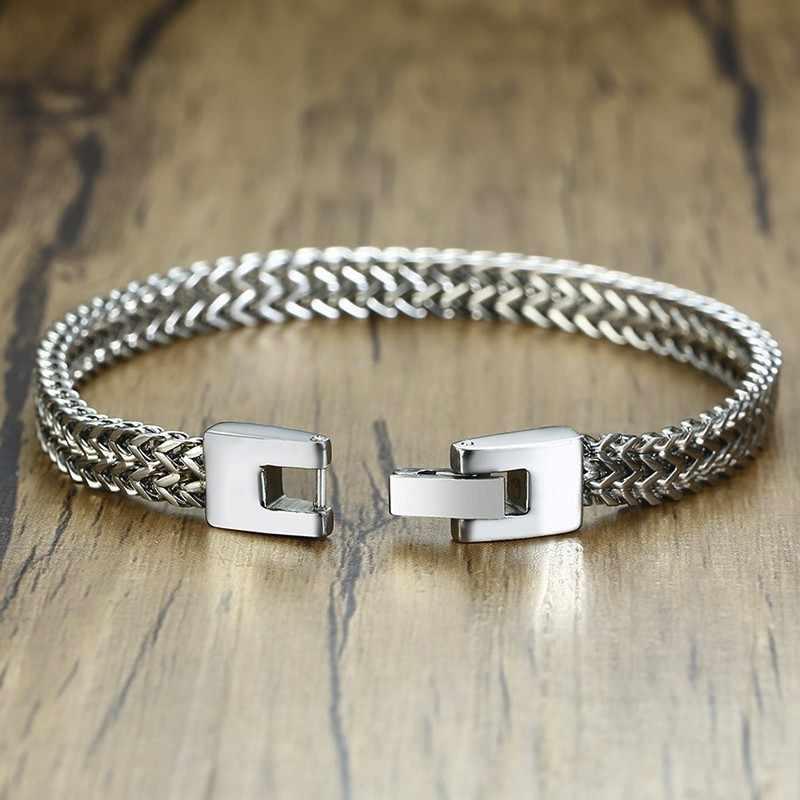 Pulseira de ano inoxidável, bracelete elegante de aço inoxidável, corrente dupla, joia masculina