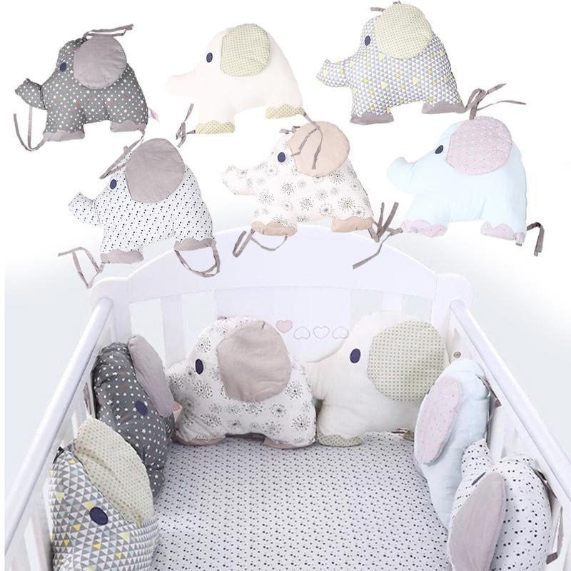 6Pcs/Set Cotton Infant Room Baby Crib Bumper Cradle Protector Fence Stuffed Cotton Elephant Bedding Bumper