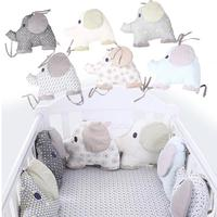6Pcs/Set Cotton Infant Room Baby Crib Bumper Cradle Protector Fence Stuffed Cotton Elephant Bedding Bumper