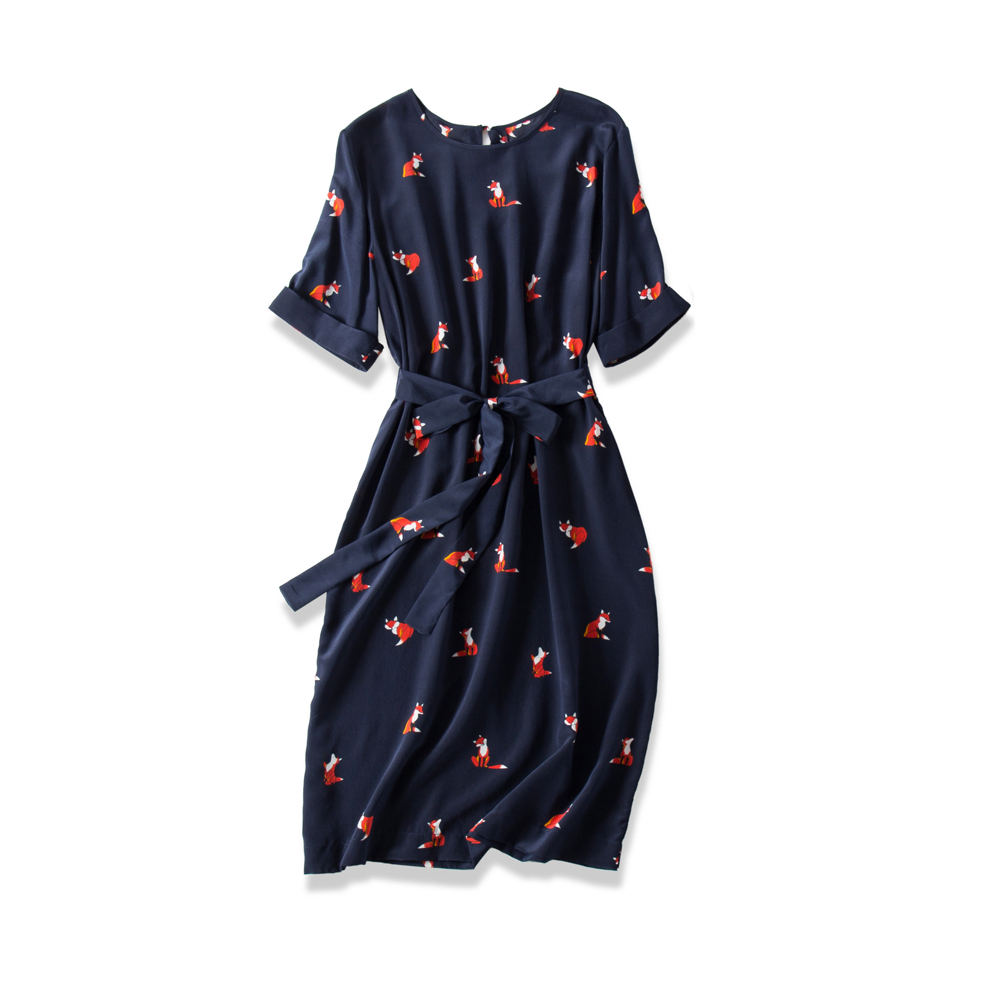 2019 Summer Casual Loose Cute Kawaii Foxes Print Lace-up Silk O-neck Short Fashion Woman Mini Dress Everyday Clothes Size S-l Dresses
