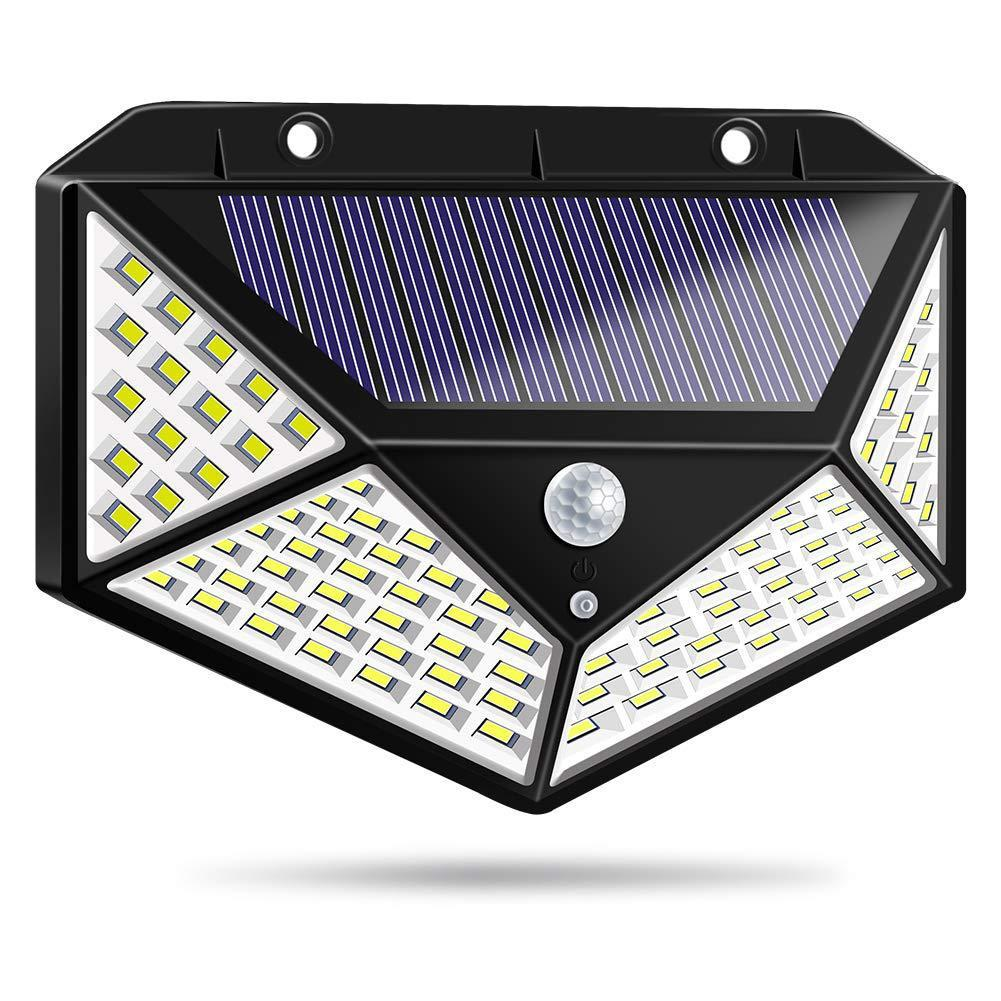 100 LED Solar Wall Lights Outdoor Waterproof Motion Sensor Infrared Wall Lamp Solar Garden Wall Light With 18650 Lithium Battery