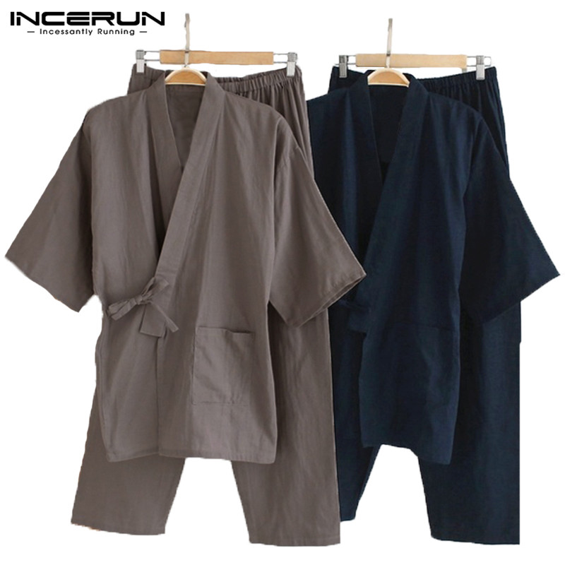Men Kimono Pajamas Japanese Style Homewear Tops Pants Set Cotton Solid Robe Vintage Loose Casual Comfy Men Sleepwear Suits L-5XL