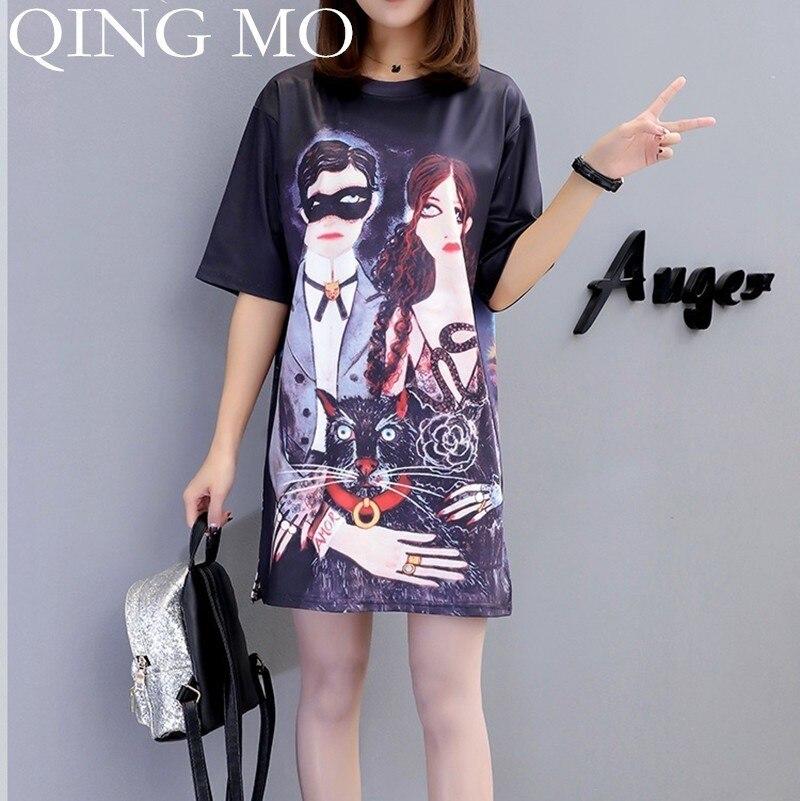 QING MIO robes d'impression 2019 été tenue décontractée femmes dessin animé surdimensionné longues t-shirts hauts coton à manches courtes robe Femme QF621