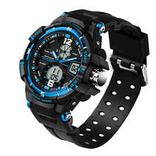 Sanda Waterproof MenS Watch Digital Led Sports Black Blue