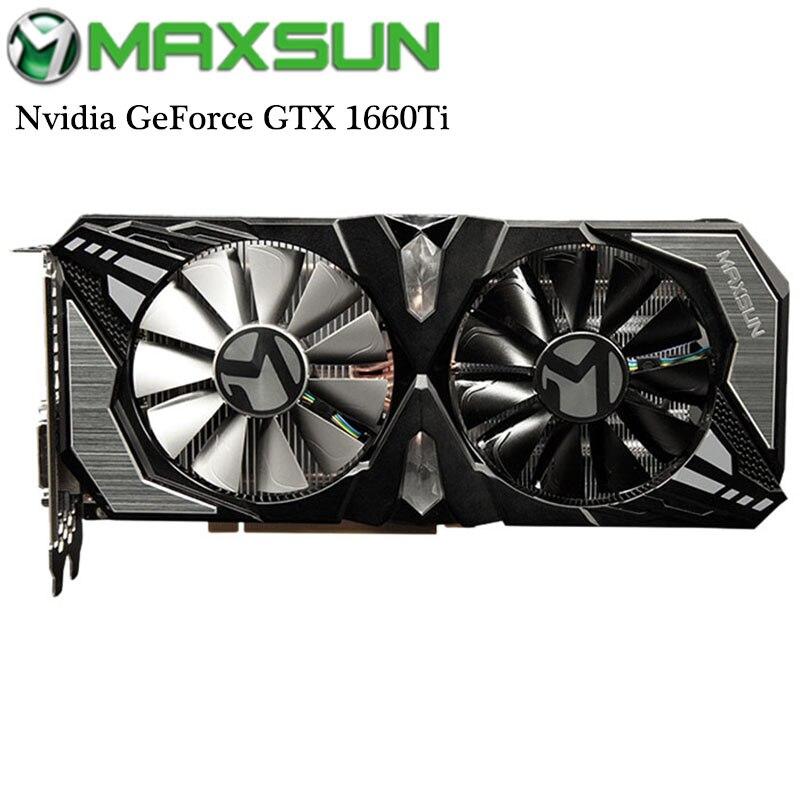 Origianl 1660Ti MAXSUN Nvidia GeForce GTX 192bit GDDR6 Terminator 6G Placa Gráfica de Vídeo para Jogos DirectX 12 12nm DP /HDMI/DVI