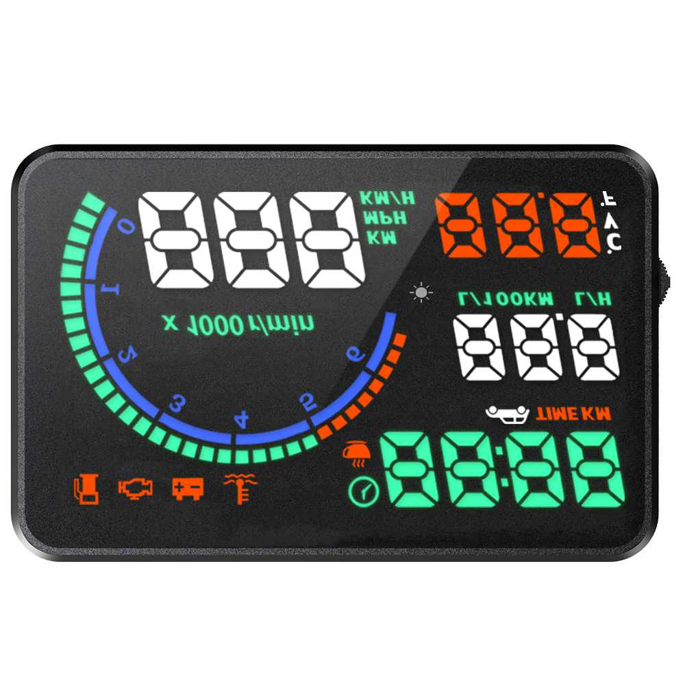 Couleur I9 5.5 Pouces Hud Voiture Heads-Up Display LED Pare-Brise Projecteur Obd2 Scanner Vitesse Avertissement Données Sur La Consommation de Carburant