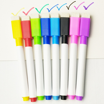 5Pcs/lot Colorful black School classroom Whiteboard Pen Dry White Board Markers Built In Eraser Student children's drawing pen