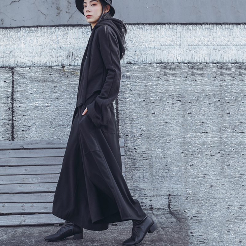 [EAM] 2019 Spring Woman Personality New Solid Black Color High Elastic Waist Pleated Pockets Long Loose Wide leg Pants LI152-in Pants & Capris from Women's Clothing    3