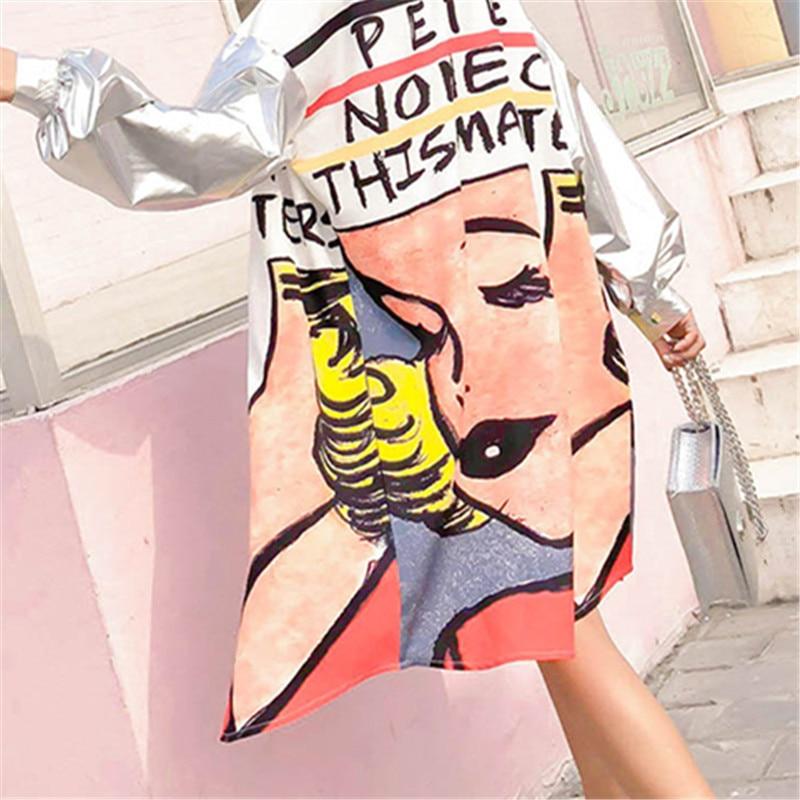 Femmes Silver Nouvelle De Printemps Dessin Taille Animé Vêtements Manteau Féminins Veste Impression Rue Grande Argent Mode Manteaux Lâche Été Long La 8BqFR