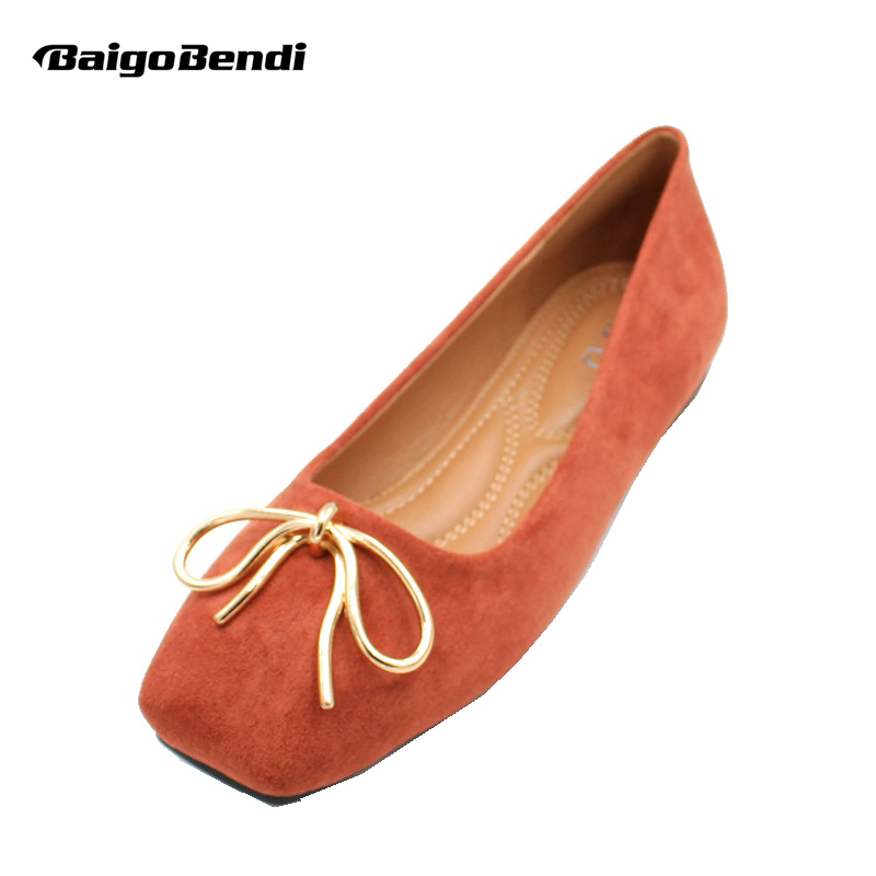 Comfort Flock Ballet Flats Woman Bow Casual Shoes Girls Trendy Square Toe Shallow Mouth Flats in Women 39 s Flats from Shoes
