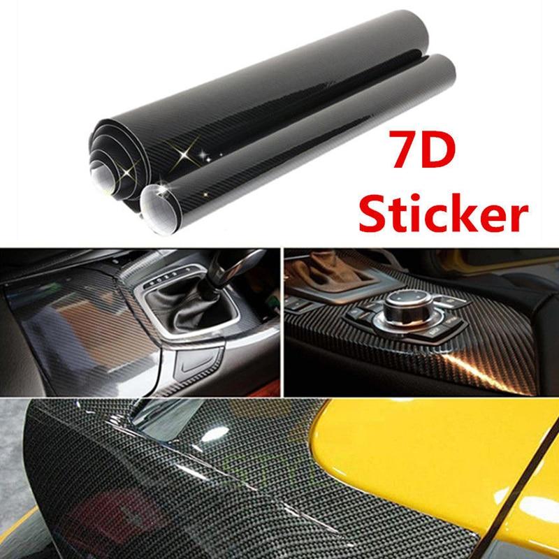 6D Ultra High Gloss Black Carbon Fiber Vinyl Wrap Sticker Decal Air Release