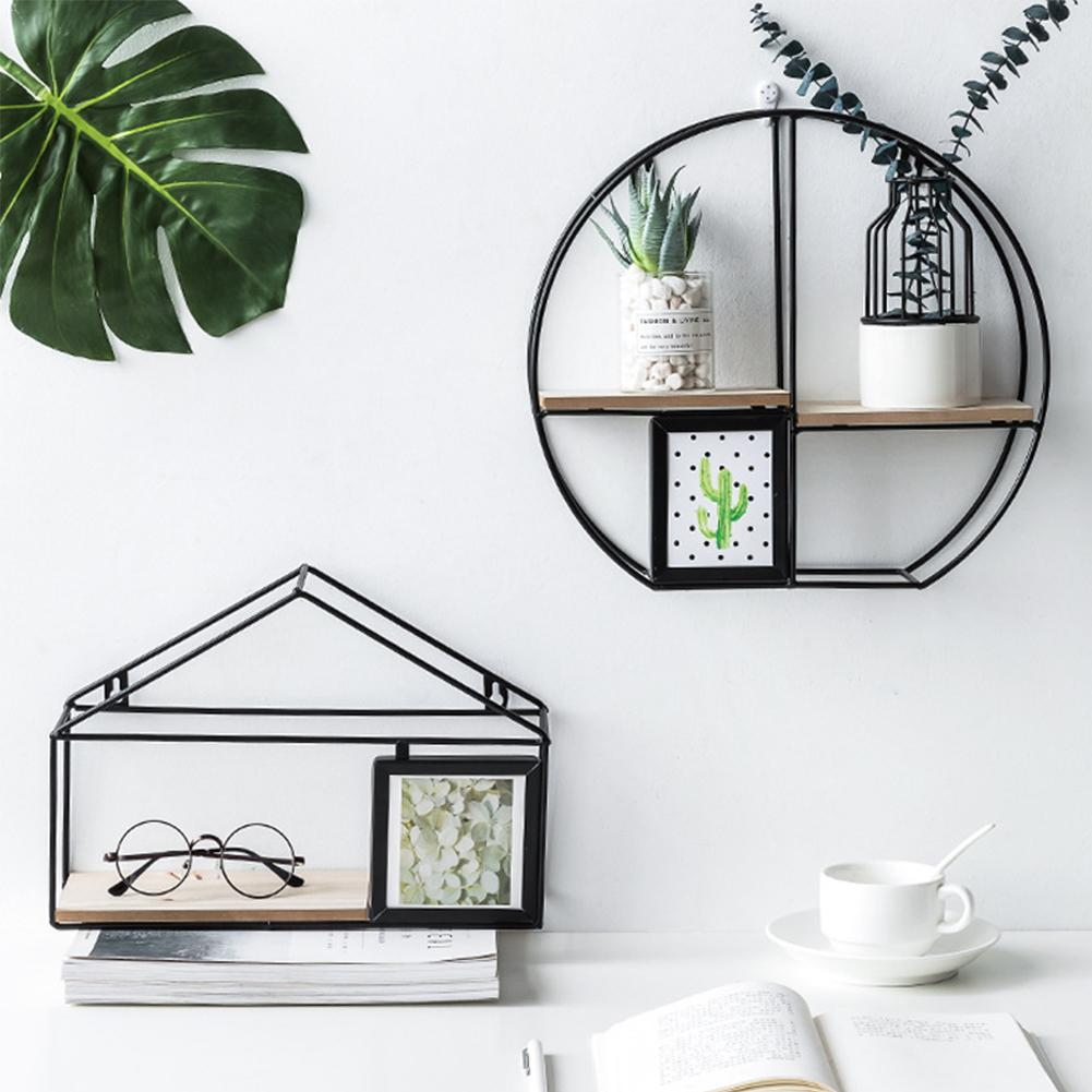Wall Mounted Iron Shelf Round Square House Floating Shelf Wall Storage Holder And Rack Shelf For Pantry Living Room Bedroom Diy