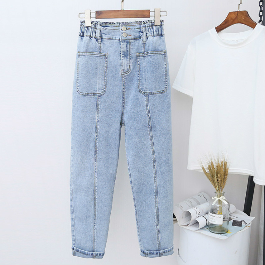Grande taille 5XL Harem pantalon pour femmes petit ami lâche lavé Denim pantalon décontracté Vintage dames taille haute Denim Jeans Femme