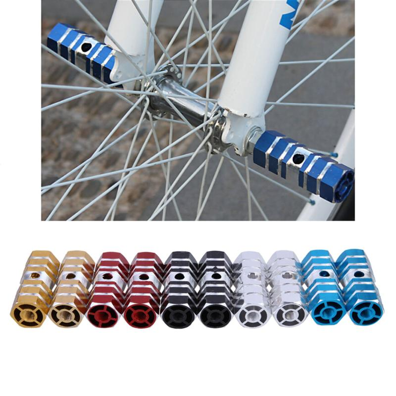2 PCS Blue Alloy Foot Pegs for Fixed Gear Bike Bicycle Axle