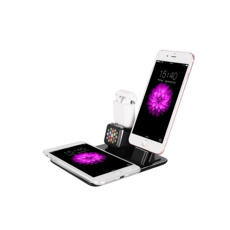 Chargeur sans fil rapide 10 W 4 en 1 bureau debout en aluminium chargeant pour iWatch iPad AirPods, quais de chargement pour iphone X8 Plus