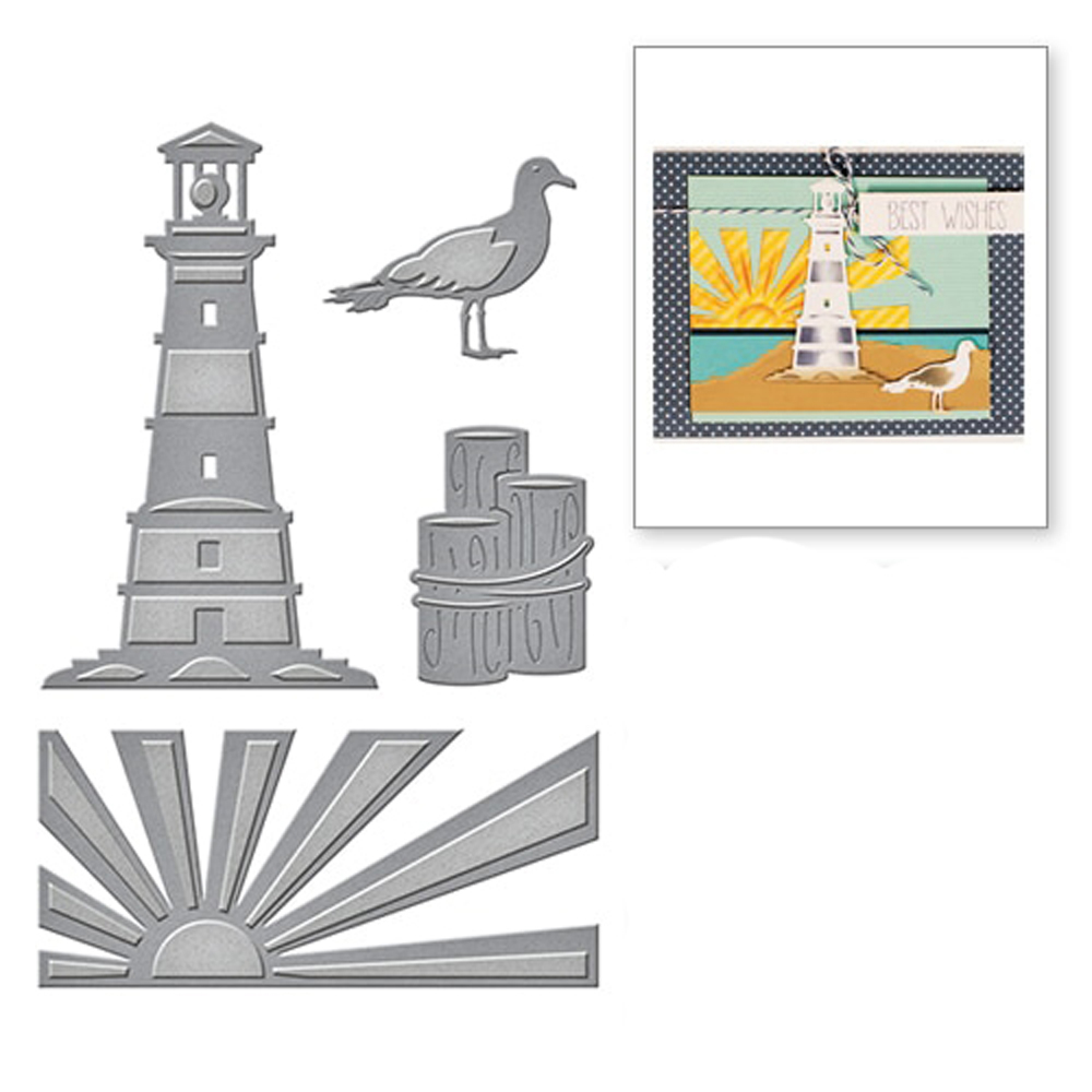 Cutting Dies Cut Stencils for DIY Scrapbooking Photo Album Decorative Embossing Paper Dies for Card Making Template Lighthouse Metal Die Cuts
