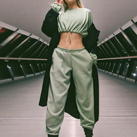 Women Tracksuits 2 Piece Set Green Cropped Top And Pants Fashion 2019 Winter Thick Casual Female Long Sleeve Hoodies Pants Sets