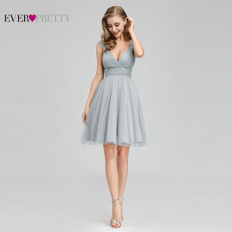 Tulle Homecoming Dresses Ever Pretty EP03087GY V-Neck A-Line Short Summer Party Graduation 2020 Dresses Mezuniyet Elbiseleri