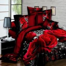 Juego de cama de lujo de algodón rosa 3D, juego de cama, sábanas, funda de edredón, funda de almohada, juego de cama tamaño King Twin Queen