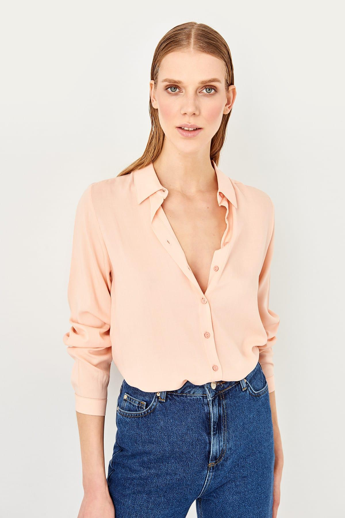 Trendyol Salmon Basic Shirt TWOSS19ST0226
