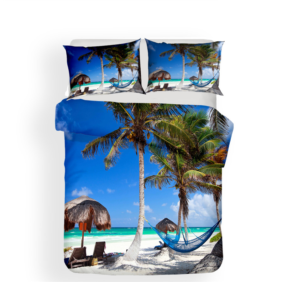 Image 2 - Bedding Set 3D Printed Duvet Cover Bed Set Beach Coconut Tree Home Textiles for Adults Bedclothes with Pillowcase #HL30-in Bedding Sets from Home & Garden