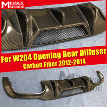 W204 Opening Rear Diffuser Lip Carbon Gloss Black For Benz C-Class C200 C230 C250 C280 C300 Bumper 12-14