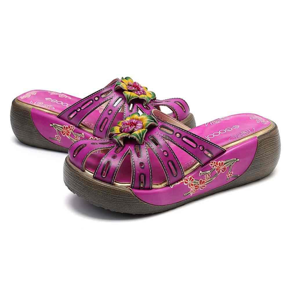 SOCOFY Retro Hollow หนังแท้มือดอกไม้ไม้แพลตฟอร์มทุกวันรองเท้าแตะฤดูร้อนผู้หญิงรองเท้าแบนใหม่
