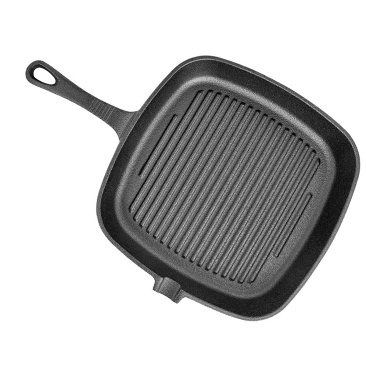 Non-Stick Cast Iron Grill Frying Pan 24X24cm Multifunction Griddle BBQ Cooking Baking Home Kitchen Cooker Tool Cookware Black